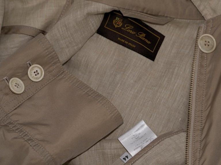 Women's Tan Loro Piana Cotton/Silk-Blend Windbreaker For Sale