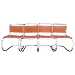 Tan Mr Cantilever Dining Chairs by Ludwig Mies van der Rohe, 1960s, Set of 4