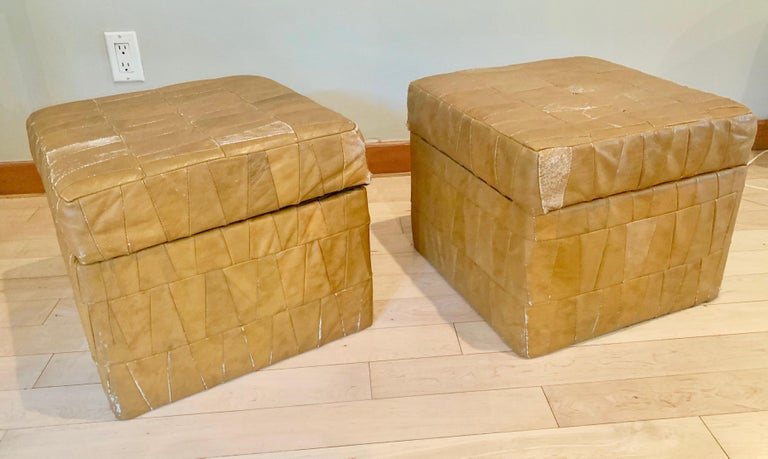 Swiss Tan Patchwork Leather De Sede Ottomans with Storage For Sale