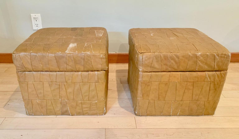 Late 20th Century Tan Patchwork Leather De Sede Ottomans with Storage For Sale