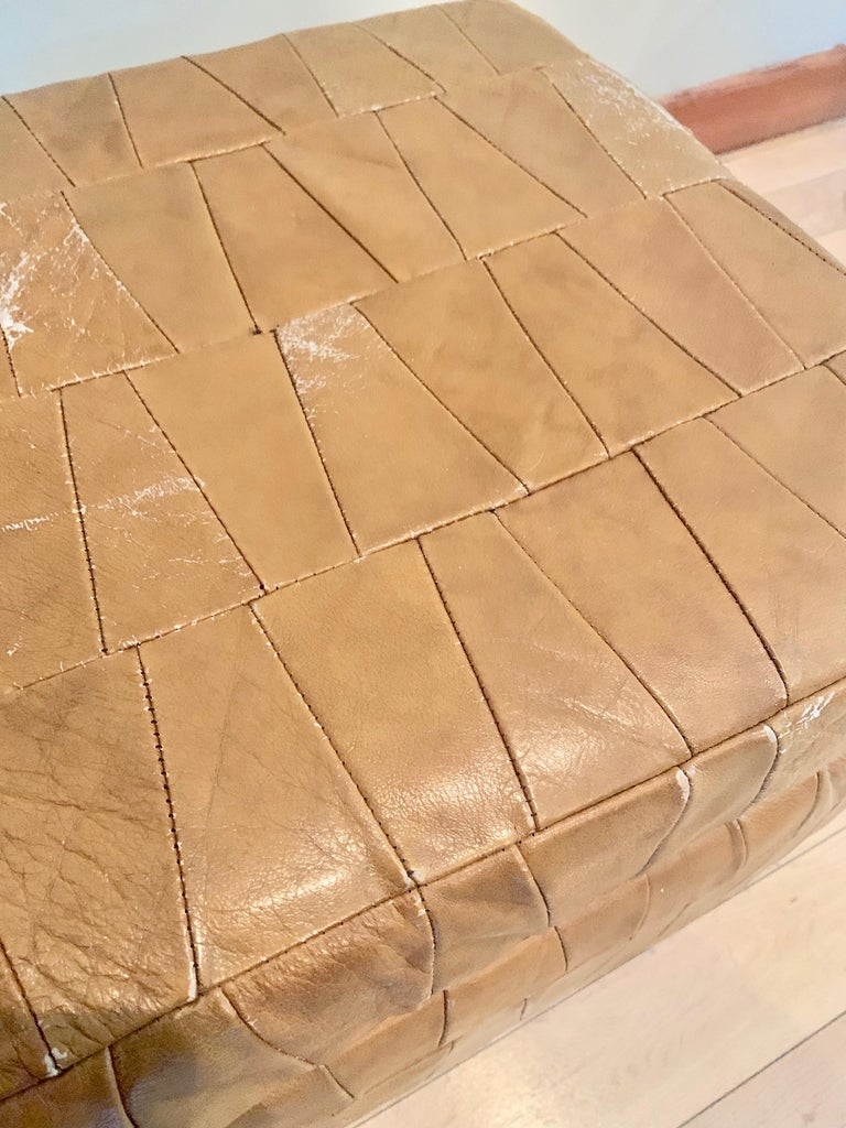 Tan Patchwork Leather De Sede Ottomans with Storage For Sale 1
