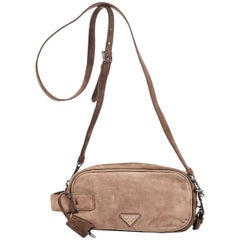 Tan Prada Suede Scamosciato Crossbody Bag