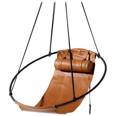 Tan Sling Hanging Swing Chair Genuine Ochre Leather 21st Century Modern