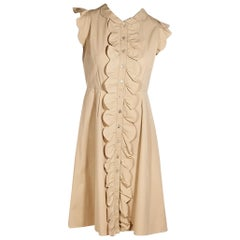 Valentino Tan Cotton Ruffled Dress