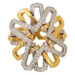 Tanagro 18 Karat Rose and White Gold, .75 Carat Diamond Open Geometric Ring