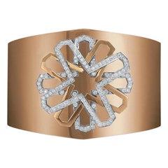 Tanagro 18 Karat Rose Gold and 1.25 Carat Diamond Wide Cuff Bracelet