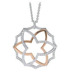 Tanagro 18 Karat White and Rose Gold, 1.35 Carat Diamond Modern Rose Pendant