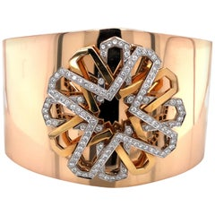 Tanagro New York Rose Gold Diamond Cuff Bracelet