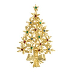 Tancer II Gold Christmas Tree Brooch, Festive Crystal Decorated Conifer Pin