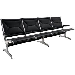 Tandem Airport Seating for Four by Charles & Ray Eames, Black Leather, Aluminum