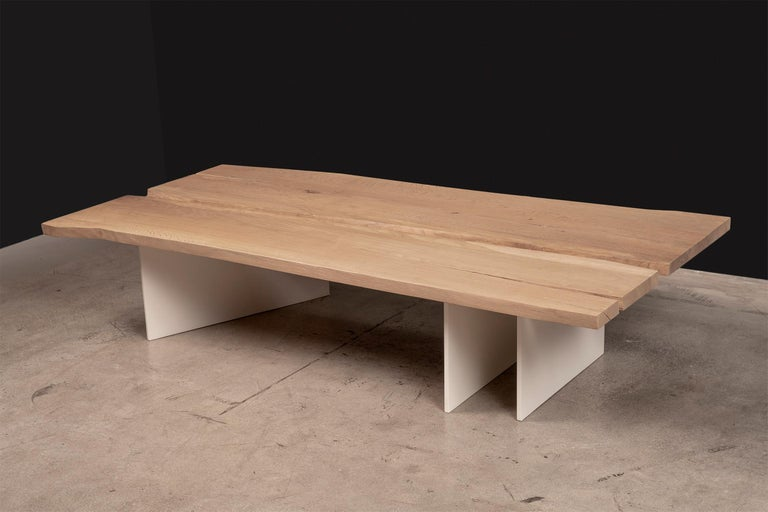 Painted Tandem Coffee Table in White Oak and Soft White Metal Base by Vivian Carbonell  For Sale