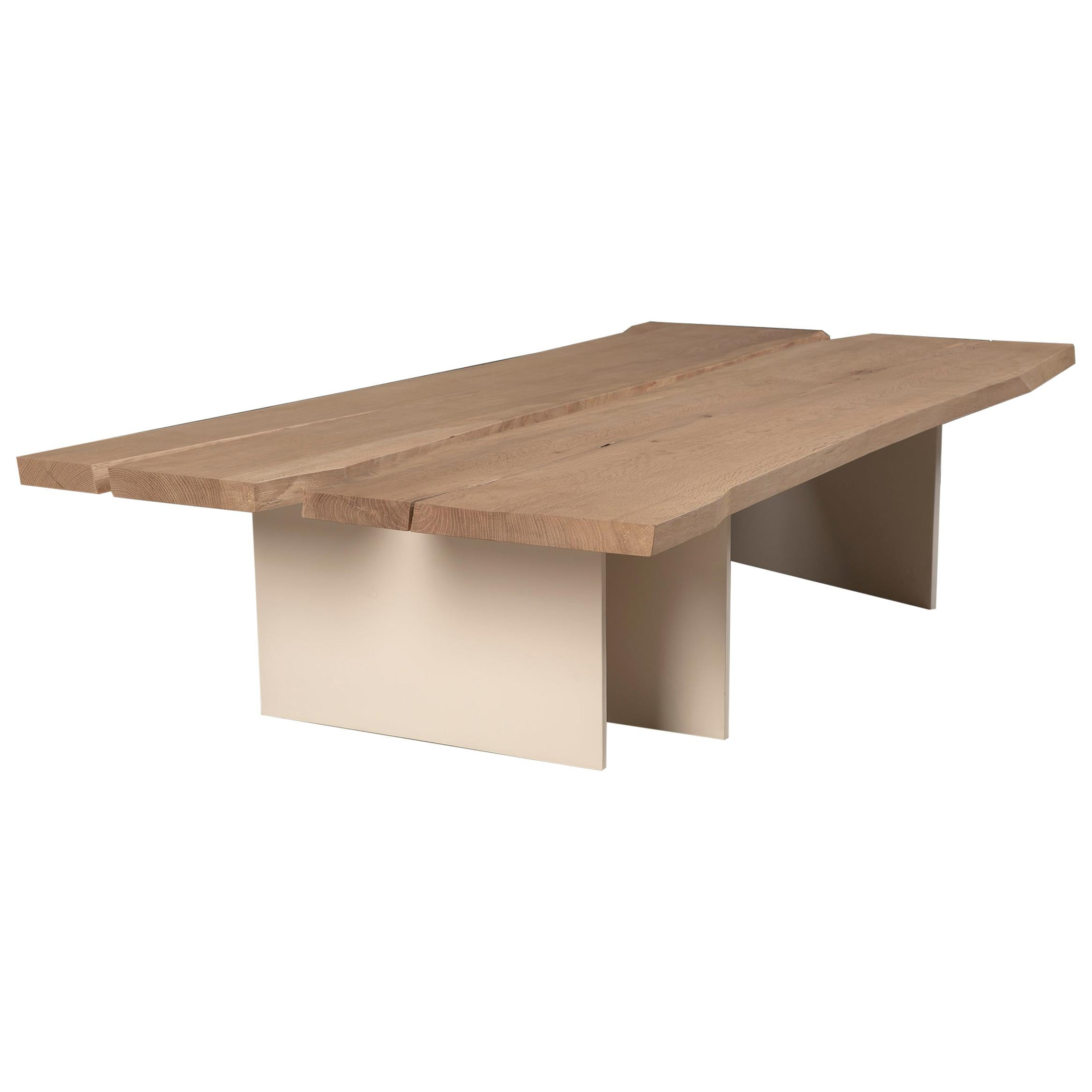 Tandem Coffee Table in White Oak and Soft White Metal Base by Vivian Carbonell
