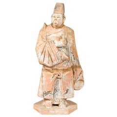 Tang Dynasty Chinese Court Official Terracotta Sculpture with Original Paint