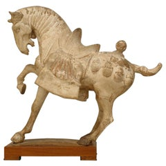 Tang Dynasty Chinese Sculpture of a Prancing Horse Mounted on a Wooden Base