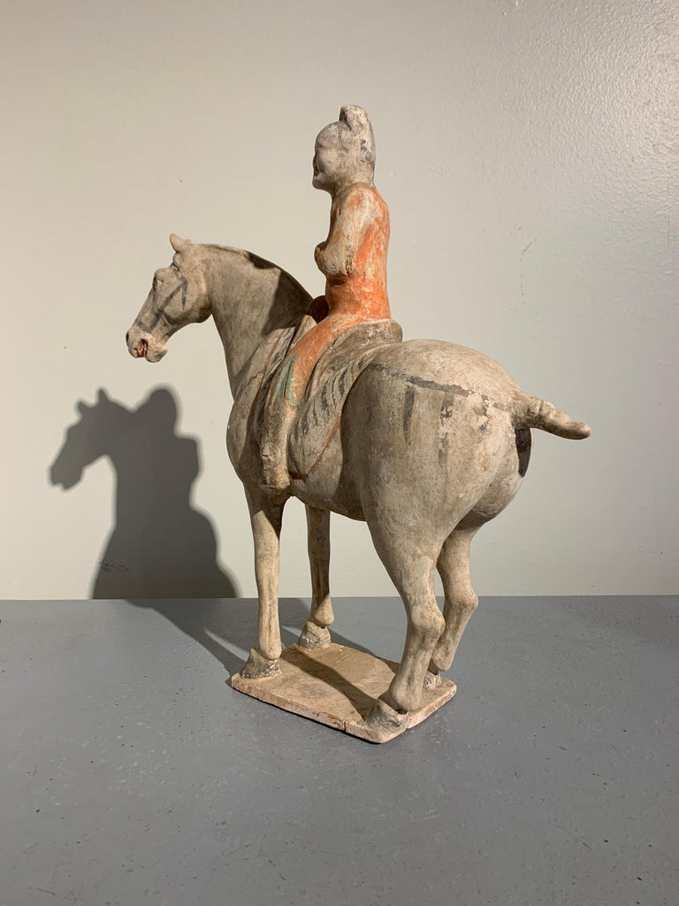Chinese Tang Dynasty Horse and Rider, Painted Pottery, circa 9th Century, China For Sale
