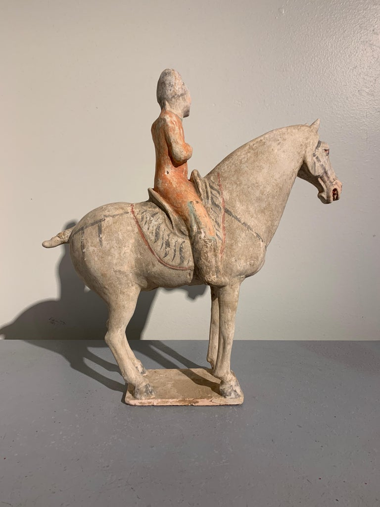 Hand-Painted Tang Dynasty Horse and Rider, Painted Pottery, circa 9th Century, China For Sale