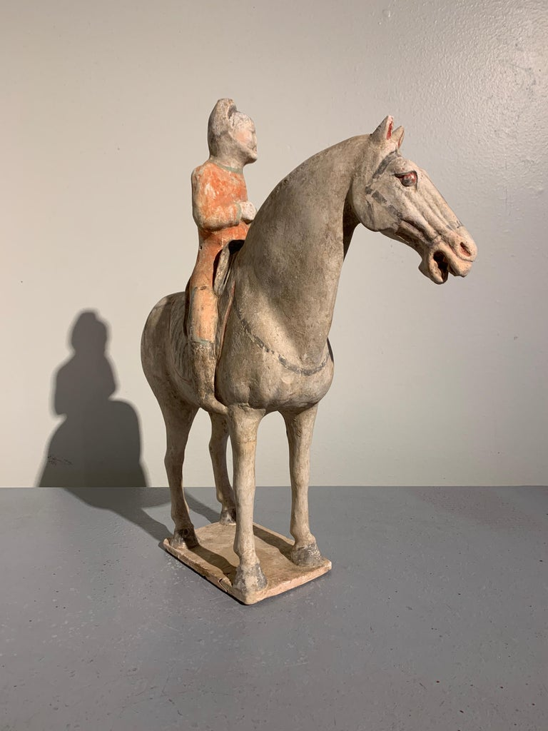 Tang Dynasty Horse and Rider, Painted Pottery, circa 9th Century, China In Good Condition For Sale In Austin, TX