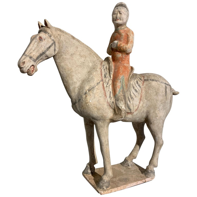 Tang Dynasty Horse and Rider, Painted Pottery, circa 9th Century, China For Sale