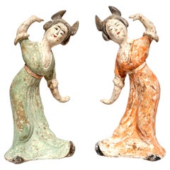 Tang Dynasty Polychromed Tomb Pottery Figures Dancing