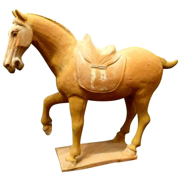 Tang Dynasty Pottery Prancing Horse with Oxford TL Test For Sale