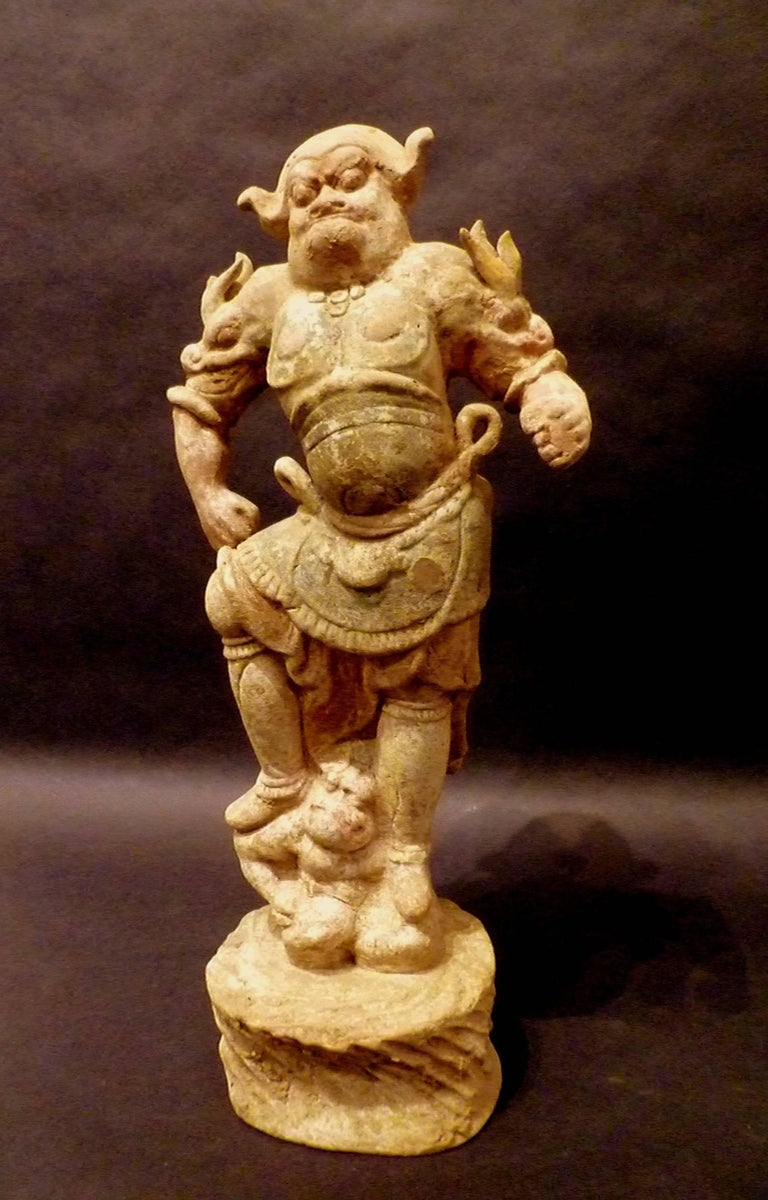 Chinese Tang Dynasty Pottery Statue of Lokapala Guardian,  Oxford TL Tested For Sale