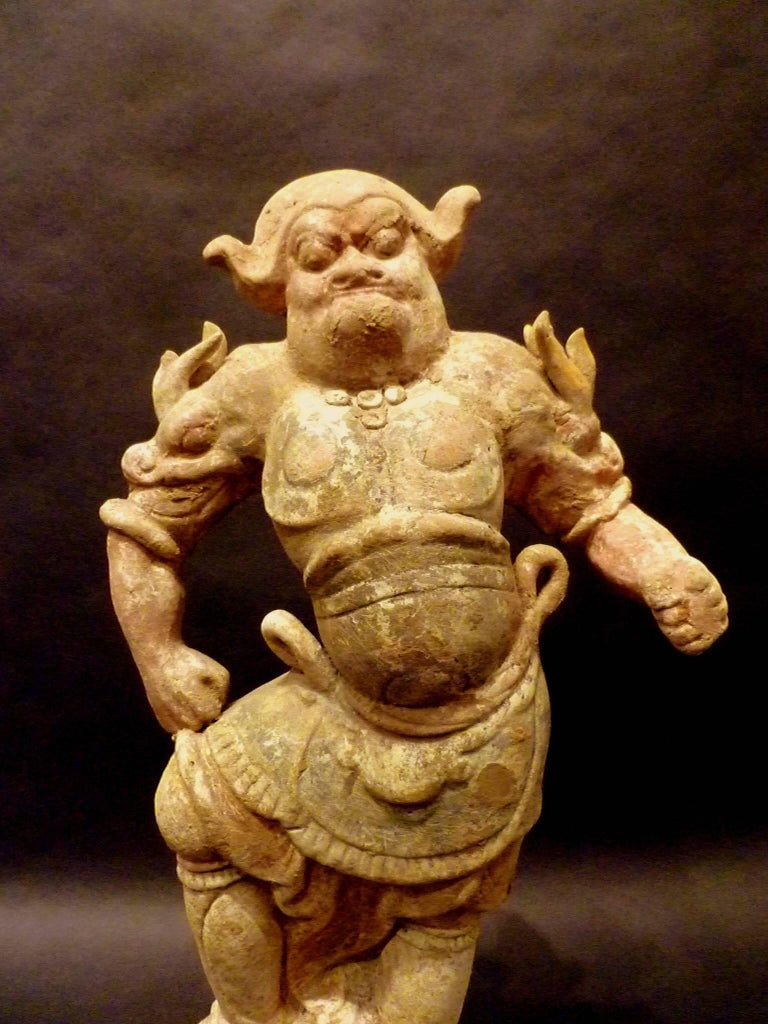 Tang Dynasty Pottery Statue of Lokapala Guardian,  Oxford TL Tested In Good Condition For Sale In Greenwich, CT
