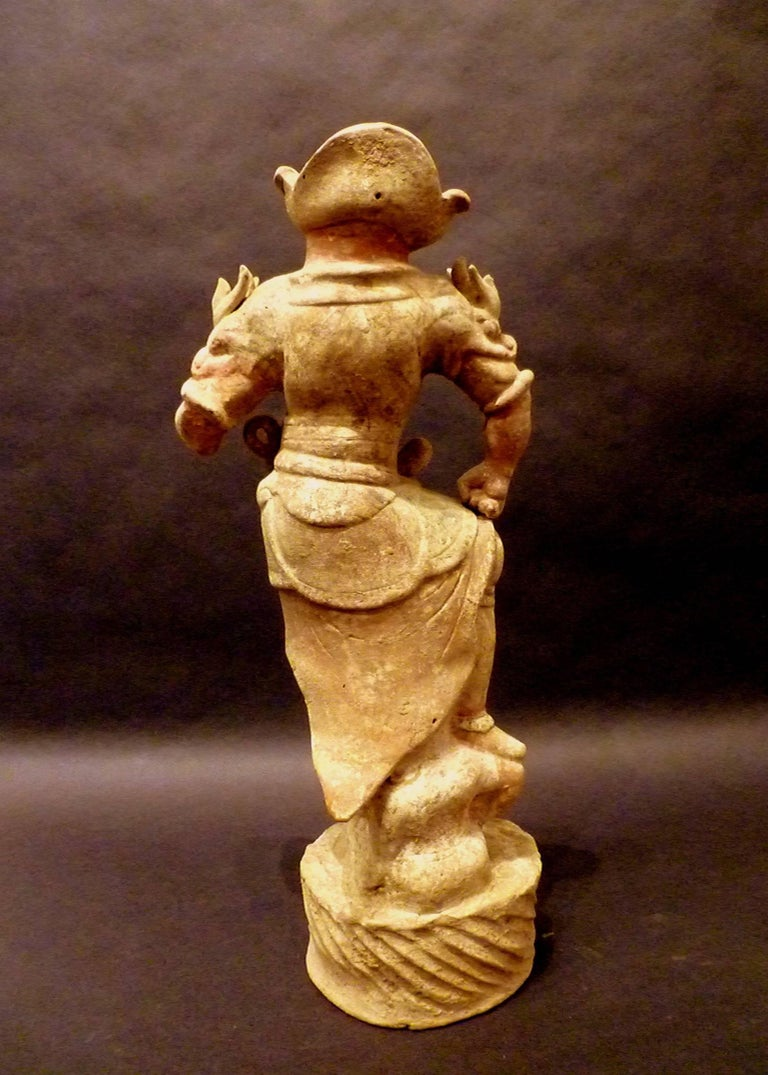 18th Century and Earlier Tang Dynasty Pottery Statue of Lokapala Guardian,  Oxford TL Tested For Sale