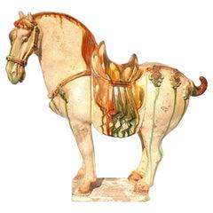 Tang Dynasty Sancai Glazed Pottery Horse
