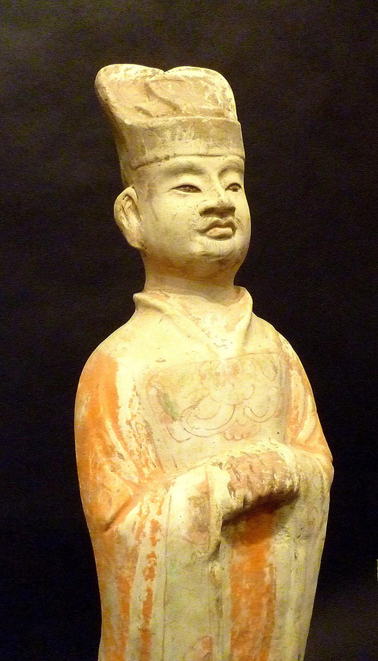 Hand-Crafted Tang Dynasty Terracotta Pottery Statue of Civil Officer, Oxford TL Tested For Sale