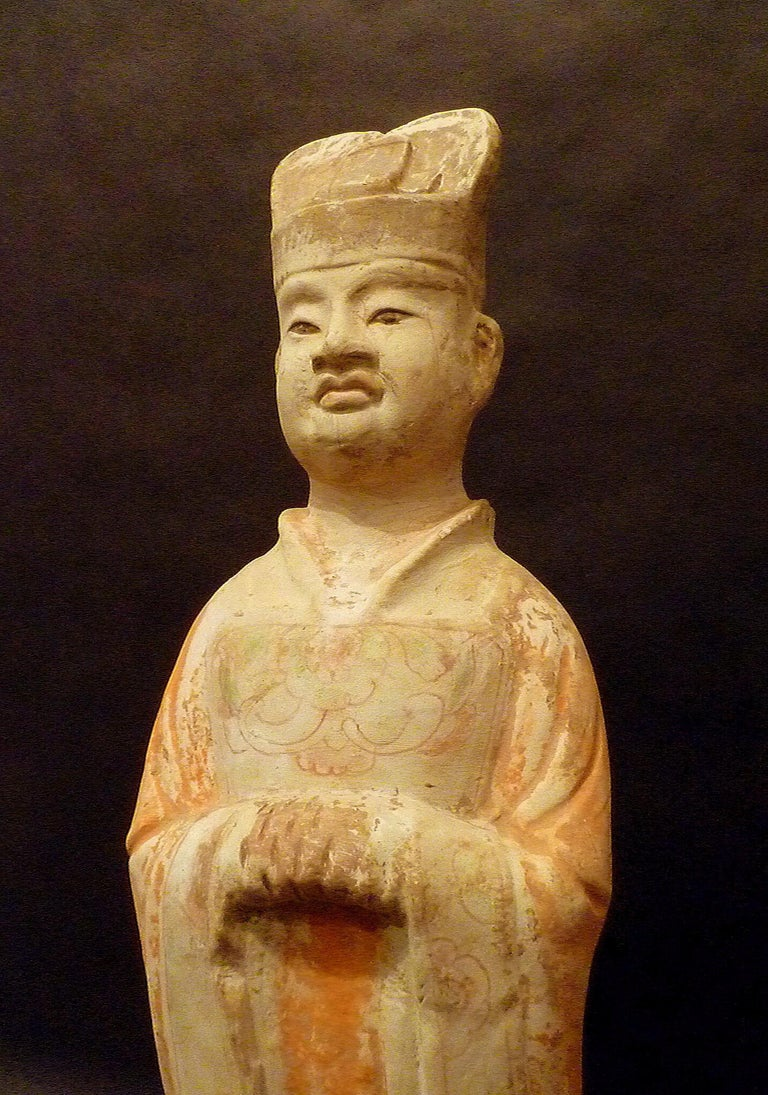 Tang Dynasty Terracotta Pottery Statue of Civil Officer, Oxford TL Tested In Good Condition For Sale In Greenwich, CT