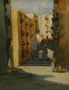 Vintage Naples Italy Figurative Street Scene Landscape 1960