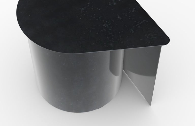 Minimalist Tangent End Table, Minimal Design in Waxed Raw Black Steel by Mtharu For Sale