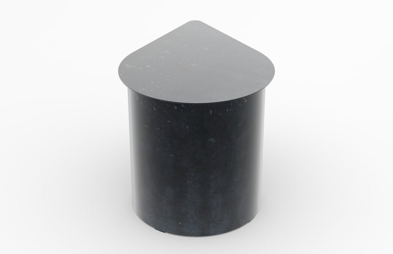 Canadian Tangent End Table, Minimal Design in Waxed Raw Black Steel by Mtharu For Sale