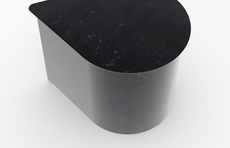 Other Tangent End Table, Minimal Design in Waxed Raw Black Steel by Mtharu For Sale