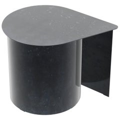Tangent End Table, Minimal Design in Waxed Raw Black Steel by Mtharu