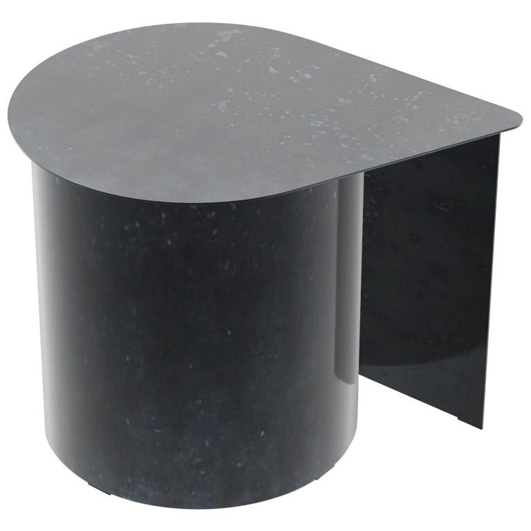 Tangent End Table, Minimal Design in Waxed Raw Black Steel by Mtharu For Sale