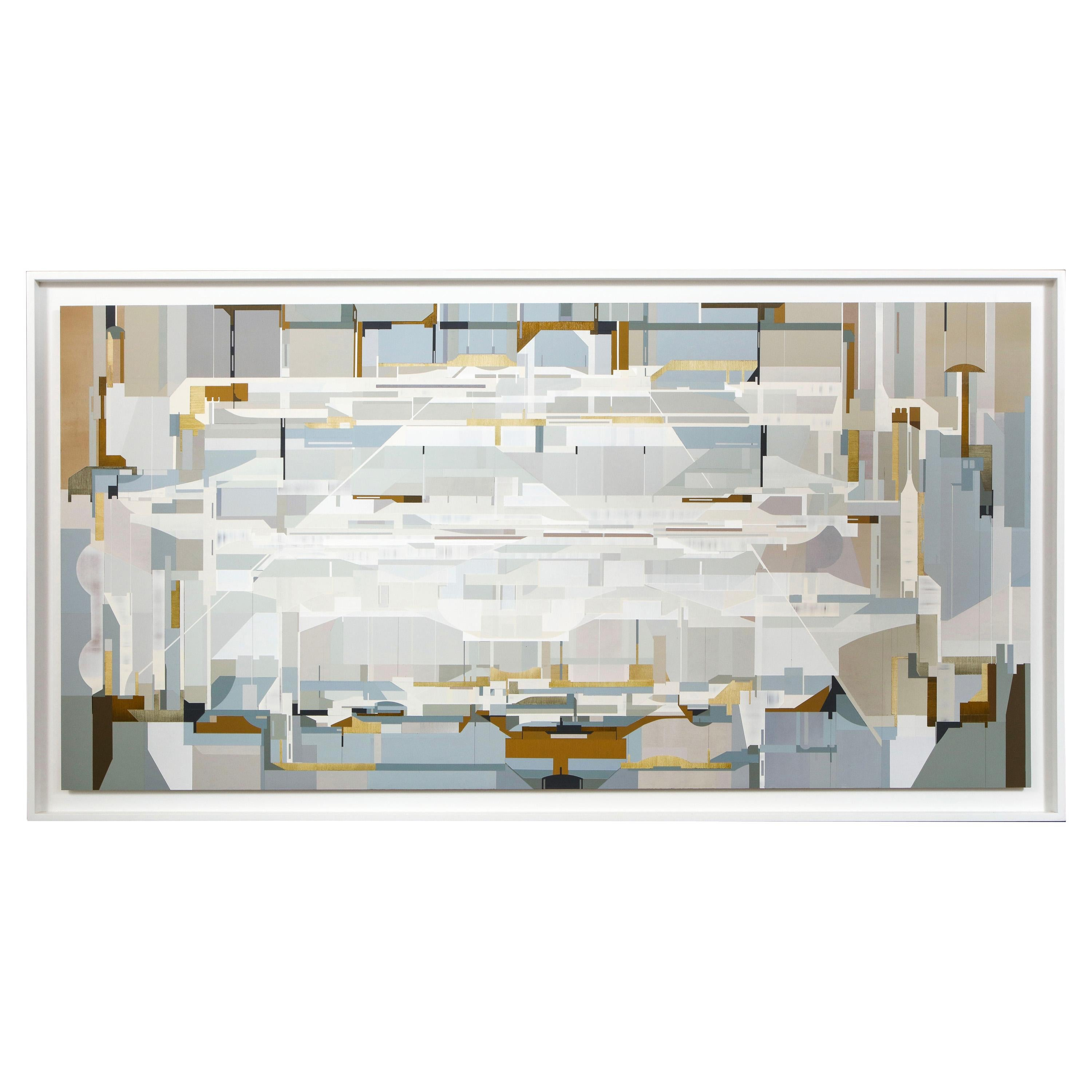 """""""Tangential,"""" 2020 Large Gray, White and Blue Abstract Painting by James Kennedy"""