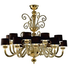 Tangeri 5604 16 Chandelier in Gold Glass with Black Shade, by Barovier&Toso
