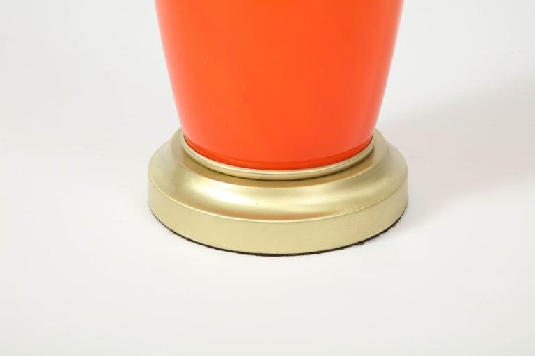 Modern Tangerine Murano Glass Lamp For Sale