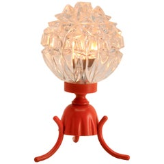 Tangerine Retro Bedside Lamp with Iron Base and Scatter-Light Glass Shade