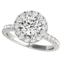 Diamonds Halo Accented GIA Certified Round Brilliant Cut Wedding Bridal Set
