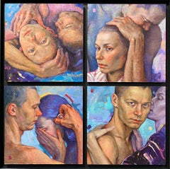 Portrait of Love- 21st Century Contemporary Four Panel Painting of a love couple