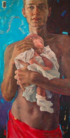 Reflection came 21st- century Contemporary Paintings of a young man and his baby