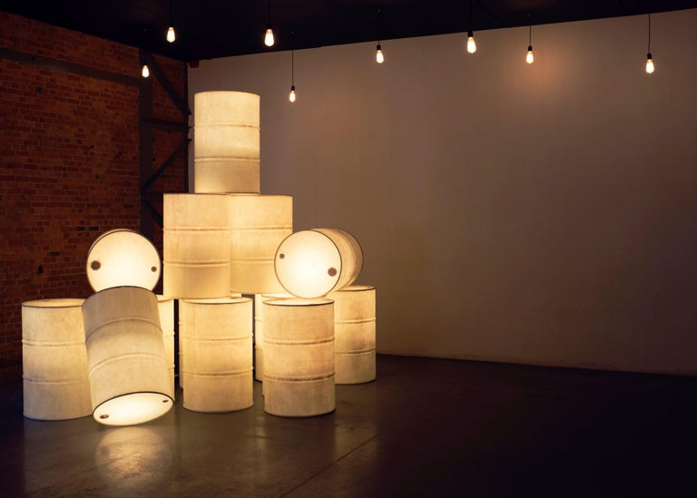Tank light sculpture by Atelier Haute Cuisine Dimensions: 90 cm x 58 cm Materials: Steel  Taking an oil barrel out of their context by changing the dark and polluting image and transforming them into bright light sculptures.  All our lamps can