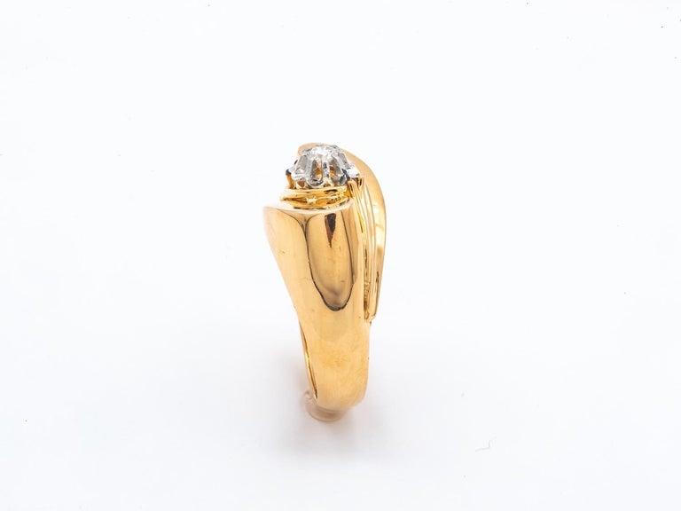 Brilliant Cut Tank Ring Gold 18 Carat Surmonted Diamond For Sale