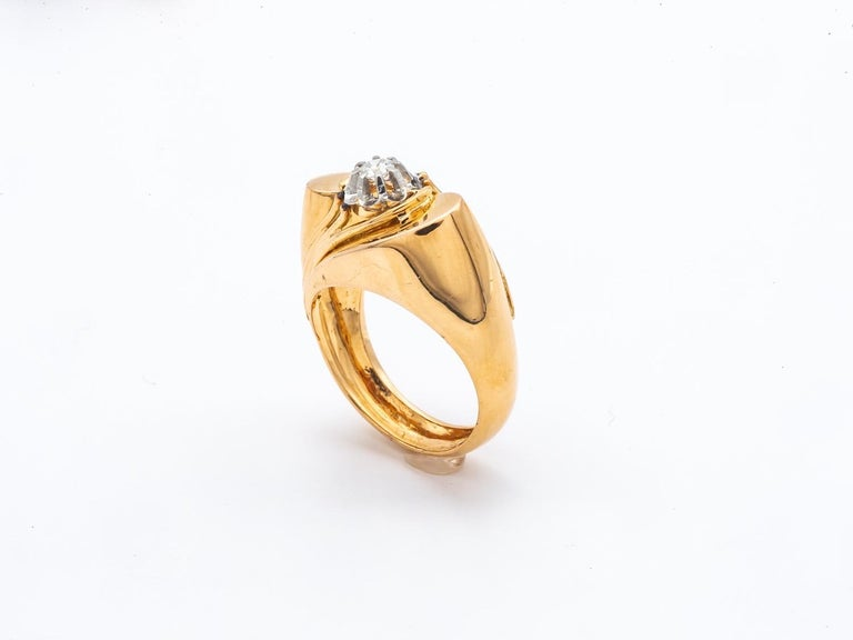 Tank Ring Gold 18 Carat Surmonted Diamond In Excellent Condition For Sale In Vannes, FR