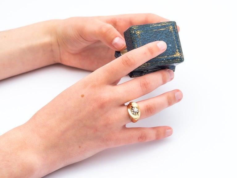 Tank Ring Gold 18 Carat Surmonted Diamond For Sale 1