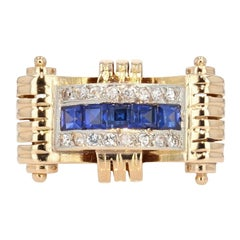 Tank Style Blue and White Sapphires 18 Karat Yellow Gold Ring