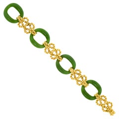 Tannler of Zurich Jade and Gold Sixties Bracelet