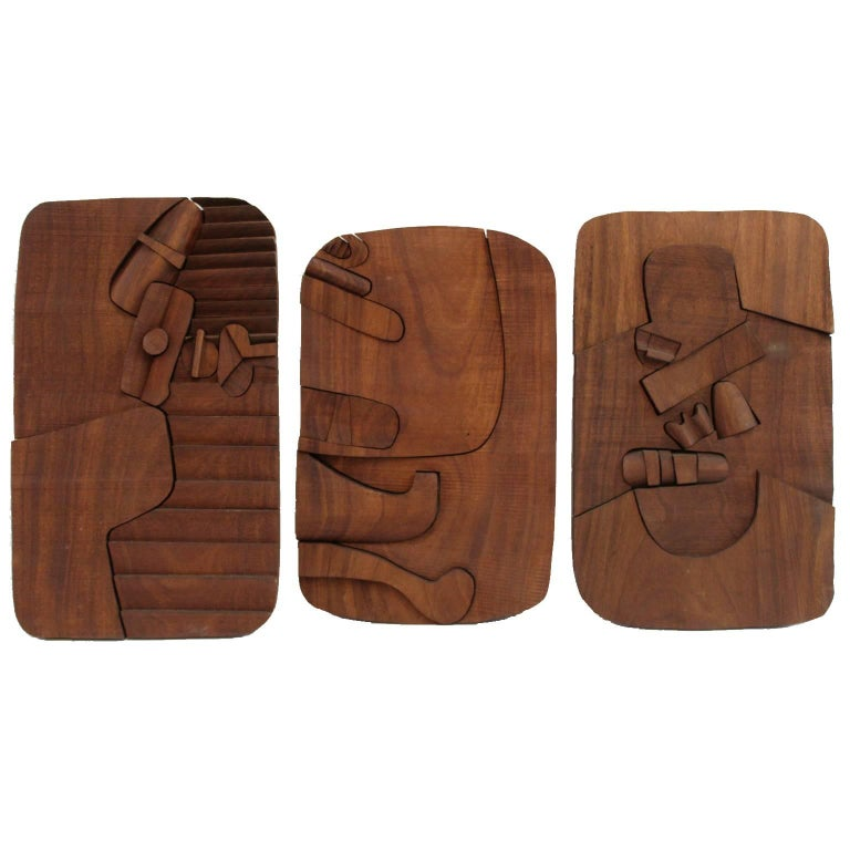 Tannley Wall Sculpture Triptych in Carved Walnut